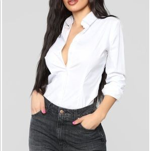 FASHION NOVA Power Over Me White Button Down Shirt